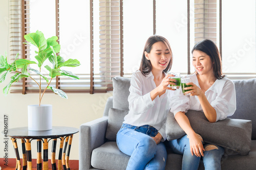 фотография Two happy asian woman friends enjoy drinking green juice together in living room
