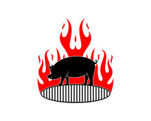 Standing Pig On The Grill Pan With Fire Flame Behind