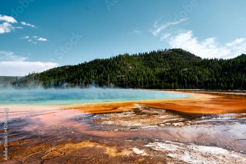 Obraz Scenic shot of the Grand Prismatic Spring, Yellowstone National Park, Wyoming USA - fototapety do salonu