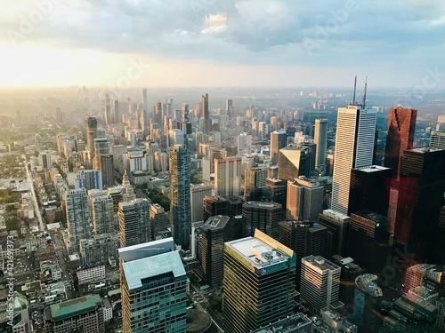 Fototapeta premium Aerial View Of Modern Buildings In City Against Sky