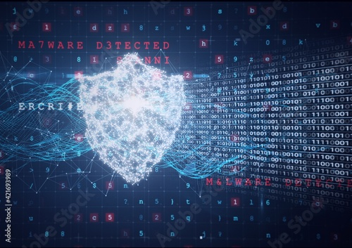 Fototapeta Composition of binary coding and cyber attack warning text over online security shield obraz