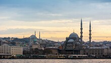Yeni Cami Mosque Against Sky During Sunset In City