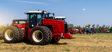 Agricultural Machinery Park On The Field.
