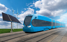 Futuristic Blue Train With Wind Turbines And Solar Panels. Getting Green Hydrogen From Renewable Energy Sources