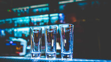 Empty Glasses For Shots On Bar Counter