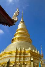 Golden Pagoda At Wat Phra That Hariphunchai, Lamphun, Thailand
