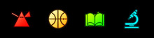 Set Light Rays In Prism, Basketball Ball, Open Book And Microscope Icon. Vector