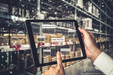 Smart Warehouse Management System Using Augmented Reality Technology To Identify Package Picking And Delivery . Future Concept Of Supply Chain And Logistic Business .