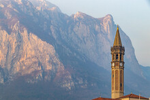 Belltower In Front Of The Mountain
