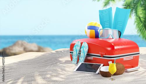 Fototapeta Close-up Of Suitcase At Beach obraz