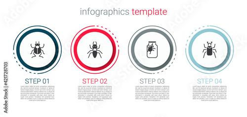 Papel de parede Set Beetle bug, Ant, Spider in jar and