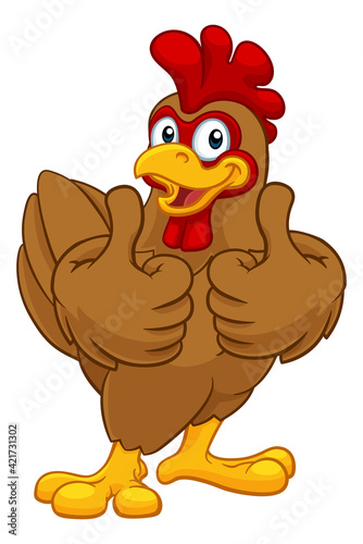 Foto Chicken Cartoon Rooster Cockerel Character
