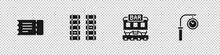Set Train Ticket, Railway, Railroad Track, Restaurant Train And Station Clock Icon. Vector