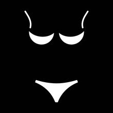 Isolated White Lingerie Icon On A Black Background. Design Element For Poster, Banner, Clothes. Simple Flat Style. Vector Illustration.