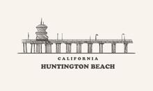 Huntington Beach Skyline, California Drawn Sketch