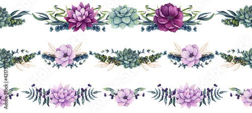 Fototapeta Set of Watercolor Horizontal Seamless Borders with Flowers and Succulent obraz