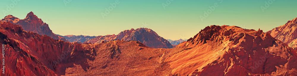Fototapeta Mars landscape panorama, 3d render of imaginary mars planet terrain, orange desert with mountains, realistic science fiction illustration.