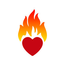 Illustration Art Of A Flame Heart With Isolated Background