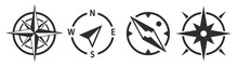 Compass Icons Set. Compass Simple Symbol With Arrow. Wind Rose Icon Isolated. Map Symbol. Vector Illustration.