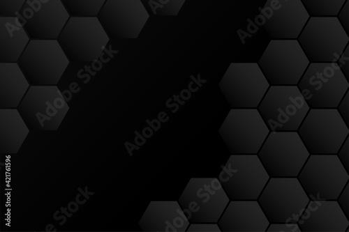 Fototapeta abstract hexagonal black background design obraz