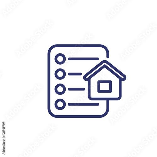 Fototapeta house and checklist line icon