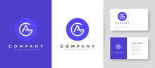 Flat Minimal Initial AG, GA Letter Logo With Premium Business Card Design Vector Template For Your Company Business