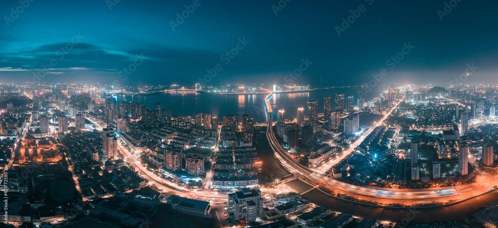 Fototapeta Night view of Wenzhou City, Zhejiang Province, China