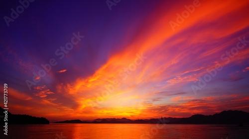 Canvas 島の真っ赤な夕焼け