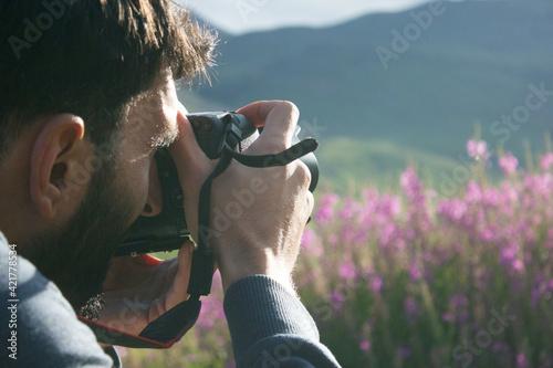 Fototapeta Hiking on a mountain. Rest in beautiful nature. obraz