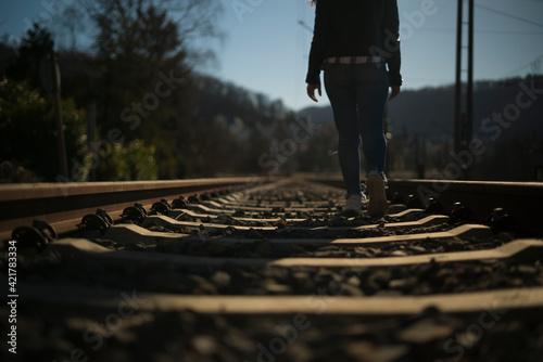 Fototapeta Walk on the rails - Help with problems