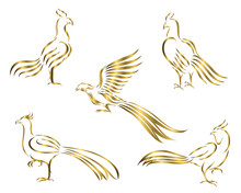 Golden Chicken And Pheasant Line Art Vector Picture It's A Set Of Five Pictures.