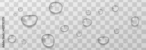 Realistic drops water transparent set rain spray splash splatter isolated.