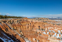 Looking Out At Rock Formations At Bryce Canyon, On A Sunny Winters Day