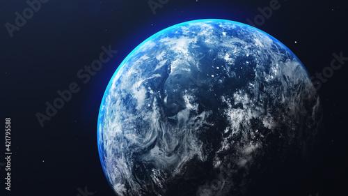 Fototapeta Aerial Space View Of Earth Sea Against Sky At Night obraz