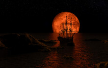 Sailboat At The Full Red Moon
