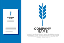 Blue Cereals Set With Rice, Wheat, Corn, Oats, Rye, Barley Icon Isolated On White Background. Ears Of Wheat Bread Symbols. Logo Design Template Element. Vector