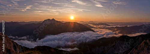 Scenic View Of Mountains Against Sky During Sunrise - fototapety na wymiar
