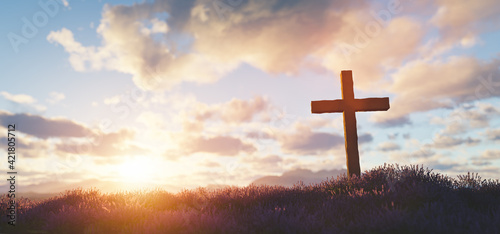 Valokuva Cross at sunset religion and faith
