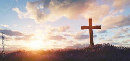 Carta da parati Cross at sunset religion and faith