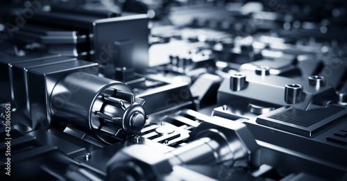 Industrial steel mechanical elements background