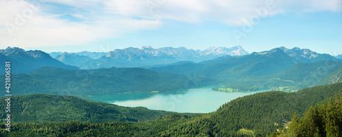 Tela stunning mountain panorama, bavarian alps and lake Walchensee, view from Hirschh