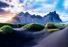 Scenic Landscape With Most Beautiful Mountains Vestrahorn On The Stokksnes Peninsula And Cozy Lagoon With Green Grass On The Sand Dunes At Sunset In Iceland. Exotic Countries. Amazing Places.