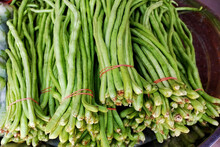 Chinese Long Beans For Sale At Market Stall