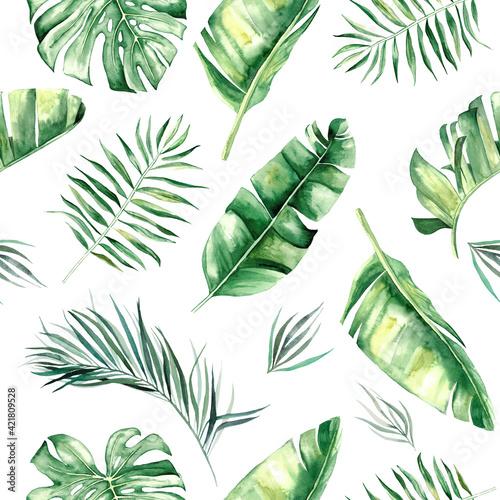 Tapety Tropikalne  akwarela-tropikalnych-lisci-ilustracja-wzor
