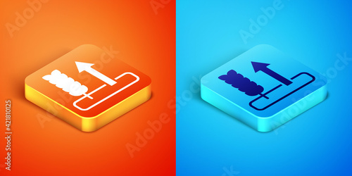 Vászonkép Isometric Cereals set with rice, wheat, corn, oats, rye, barley icon isolated on orange and blue background