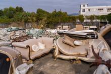 Big Pile Of Old Broken Furnitures