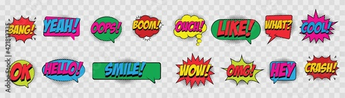 set of comic speech bubbles with halftone shadows, Expression text, Bang, Yeah, Oops, Boom, Hello, Smile, Ouch, Like and more, Pop art style, retro talk bubble in comic style. Vector illustration.