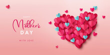 Happy Mothers Day Banner. Holiday Background Design With Big Heart Made Of Pink, Red And Blue Origami Hearts On Soft Pink Background. Horizontal Poster, Flyer, Greeting Card, Header For Website