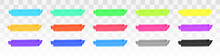Color Highlighter Lines Set Isolated On Transparent Background. Red, Yellow, Pink, Green, Blue, Purple, Gray, Black Marker Pen Highlight Underline Strokes. Vector Hand Drawn Graphic Stylish Element