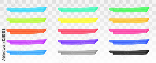 Fototapeta Color highlighter lines set isolated on transparent background. Red, yellow, pink, green, blue, purple, gray, black marker pen highlight underline strokes. Vector hand drawn graphic stylish element obraz